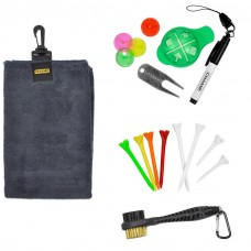 Champ Golf Essentials Value Pack: Golfers Spring Tune-up, Towel, Tees, Brush, Markers, Repair Tool