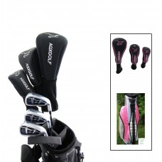 AGXGOLF GIRL'S LEFT OR RIGHT HAND MAGNUM PINK EDITION GOLF CLUB SET w/12 DEGREE DRIVER +3 WOOD + HYBRID + IRONS + WEDGE + CART BAG & FREE PUTTER: AVAILABLE IN ALL SIZES