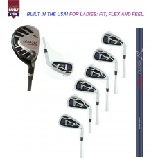 LADIES LEFT or RIGHT HAND MAGNUM XV IRON SET w/ HYBRID UTILITY LONG IRON + 5, 6, 7, 8 & 9 IRONS + PITCHING WEDGE; PETITE, REGULAR & TALL LENGTHS: BUILT IN THE USA by AGXGOLF