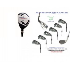 AGXGOLF BOY'S MAGNUM SERIES IRON SET: w/ 4 HYBRID+5, 6, 7, 8 & 9 IRONS + PW + OPTIONAL SAND WEDGE:  ALL SIZES