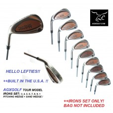 AGXGOLF MEN'S LEFT HAND TOUR MODEL IRONS SET 3-SW wSTEEL SHAFTS; CHOOSE LENGTH & FLEX:BUILT IN THE USA !