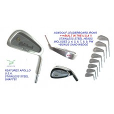 MEN'S LEADERBOARD OPTIMIZED WIDE SOLE IRONS SET wSTAINLESS STEEL SHAFTS + FREE SAND WEDGE; ALL SIZES