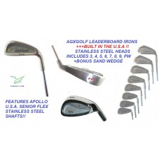 SENIOR MENS LEADERBOARD OPTIMIZED WIDE SOLE IRONS SET wSENIOR FLEX STEEL or GRAPHITE SHAFTS + FREE SAND WEDGE; ALL SIZES