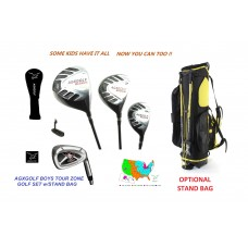 AGXGOLF NEW BOYS TOUR GEAR GOLF SET w/460cc DRIVER-3 WOOD-HYBRID-IRONS-PUTTER OPTIONAL STAND BAG