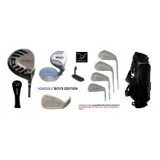 BOYS RIGHT MAGNUM LEADERBOARD GOLF CLUB SET w460cc DRIVER & STAND BAG & PUTTER + BONUS SAND WEDGE:: TEEN OR TWEEN LENGTH; BUILT in the USA by AGXGOLF