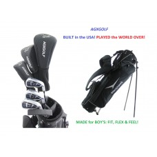 AGXGOLF BOYS MAGNUM GOLF STARTER SET wDRIVER+FAIRWAY WOOD+HYBRID+IRONS+BAG+PUTTER: RIGHT HAND: BUILT in the USA by AGXGOLF