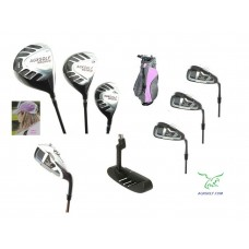 AGXGOLF GIRL'S LEFT OR RIGHT HAND MAGNUM PINK EDITION GOLF CLUB SET w/12 DEGREE DRIVER +3 WOOD + HYBRID + IRONS + WEDGE + STAND BAG & FREE PUTTER: AVAILABLE IN ALL SIZES