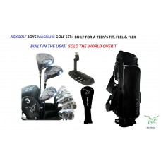 AGXGOLF LEFT BOYS GOLF CLUB SET wDRIVER+3 WD+HYBRID+6-PW IRONS+BAG+PUTTER