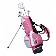 POWERBILT GIRL'S 5-8yr RIGHT HAND  PINK GOLF SET + STAND BAG & PUTTER GRAPHITE SHAFTS