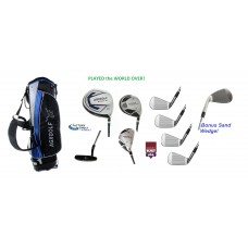 Choose Flex & Length Up to +2 Inch; Left or Right Men's Executive Golf Club Set wStand Bag, 460cc Driver, Fairway Wood & Utility Club, Irons,  Putter + Bonus Sand Wedge USA Built.