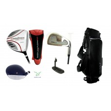 MENS EXECUTIVE GOLF CLUB SET w460cc DRIVER + FAIRWAY & UTILITY WOODS + IRONS + STAND BAG + PUTTER: ALL SIZES