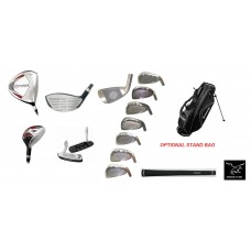 MENS AGXGOLF COMPLETE GOLF CLUB SET w460cc DRIVER 3 WOOD + 3 HYBRID+ 4-PW+OPTIONAL BAG + PUTTER; ALL LENGTHS