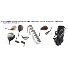 AGXGOLF MEN'S LEFT HAND TOUR MODEL COMPLETE GOLF CLUB SET wDRIVER + FAIRWAY WOOD + UTILITY WD + IRONS + PUTTER: OPTIONAL BAG: ALL SIZES IN STOCK + BUILT IN THE USA
