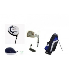 MEN'S EXECUTIVE GOLF CLUB SET w460cc DRIVER + FAIRWAY & UTILITY WOODS + IRONS + STAND BAG + PUTTER: ALL SIZES