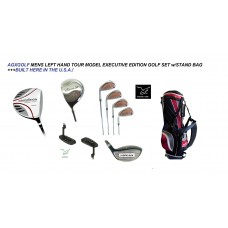 AGXGOLF MEN'S LEFT HAND TOUR MODEL EXECUTIVE GOLF CLUB SET wDRIVER + FAIRWAY WOOD + HYBRID + IRONS + STAND BAG + PUTTER: ALL SIZES IN STOCK + BUILT IN THE USA