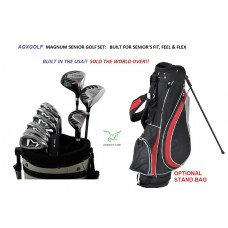 AGXGOLF SENIOR MENS MAGNUM SERIES COMPLETE GOLF CLUB SET 460 DRIVER+3 WOOD+HYBRID+STAND BAG+PUTTER+5-9 IRONS + PITCHING WEDGE + PUTTER: ALL SIZES wOPTIONAL BAG: BUILT IN THE U.S.A!!