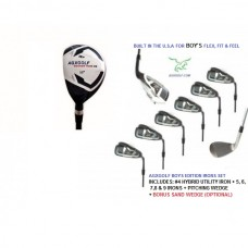 AGXGOLF BOY'S LEFT or RIGHT HAND MAGNUM SERIES IRON SET: w/ 4 HYBRID+5, 6, 7, 8 & 9 IRONS + PW + OPTIONAL SAND WEDGE:  ALL SIZES