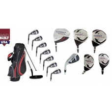MEN'S LEFT HAND MAGNUM XS EDITION 13 CLUB GOLF SET w460 DRIVER +3 & 5 WOOD  #3 & 4 HYBRIDS + 5-9 IRONS + PW & SW+PUTTER: OPTION TO INCLUDE STAND BAG