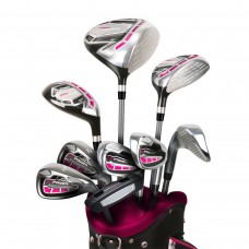 LADIES LEFT or RIGHT HAND MAGENTA/PINK POWERBILT  ALL GRAPHITE COMPLETE GOLF CLUB SET w/DRIVER + HYBRID + BAG + PUTTER + 3 HEAD COVERS: PETITE, REGULAR OR TALL LENGTHS