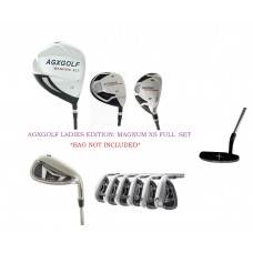 LADIES AGXGOLF XS TOUR EDITION ALL GRAPHITE LEFT or RIGHT HAND GOLF CLUB (BAG OPTION): w/DRIVER + HYBRID + PUTTER + 3 HEAD COVERS: PETITE, REGULAR OR TALL LENGTHS