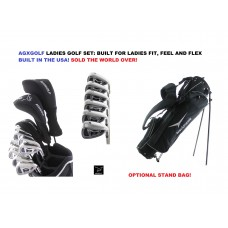 AGXGOLF LADIES MAGNUM COMPLETE GOLF CLUB SET w/DRIVER+FAIRWAY WOOD+HYBRID+5,6,7,8,9 IRONS+PW+PUTTER: OPTIONAL BAG BUILT in the USA!