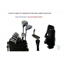 LADIES LEFT AGXGOLF COMPLETE GOLF CLUB SET+w460cc Driver + 3WOOD + HYBRID + 6-9 IRONS + PW + STAND BAG + FREE PUTTER+2 HEAD COVERS