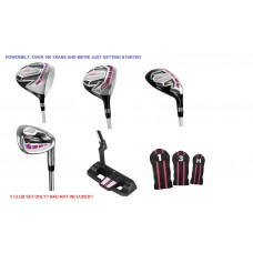 LADIES MAGENTA/PINK POWERBILT ALL GRAPHITE LEFT or RIGHT HAND GOLF CLUB SET ONLY: w/DRIVER + HYBRID + PUTTER + 3 HEAD COVERS: PETITE, REGULAR OR TALL LENGTHS