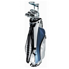 LADIES TEC+ BLUE & SILVER GOLF CLUB SET WITH LADIES CART BAG, FREE PUTTER, & HEAD COVERS PETITE OR REGULAR LENGTH