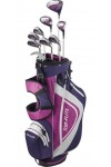 LADIES LEFT HAND TOP-FLITE GRAPHITE COMPLETE GOLF CLUB SET BAG+HYBRID+IRONS+PUTTER