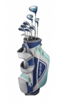 LADIES MINT/GREY TOP-FLITE GRAPHITE COMPLETE GOLF CLUB SET BAG+HYBRID+IRONS+PUTTER
