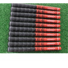 A PACK OF10 AGXGOLF MENS CORDED (MULTI-COMPOUND) GOLF GRIPS AND 13 TAPE STRIPS: BLACK/RED