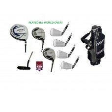 Choose Flex & Length Up to +2 Inch; Left or Right Men's Executive Golf Club Set wStand Bag, 460cc Driver, Fairway Wood & Utility Club, Irons,  Putter + Bonus Wedge USA Built.