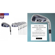 AGXGOLF MEN'S ONE SWING SAME LENGTH IRONS SET 4, 5, 6, 7, 8 & 9 + PITCHING WEDGE; LEFT OR RIGHT HAND SENIOR REGULAR or STIFF FLEX, CHOICE of FINISHED LENGTH, BUILT in USA!! SEE OPTIONS